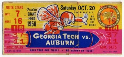 1956 Auburn-Georgia Tech Football Ticket