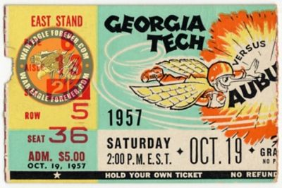 1957 Auburn-Georgia Tech Football Ticket Stub