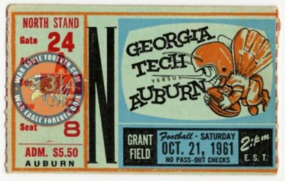 1961 Auburn-Georgia Tech Football Ticket Stub