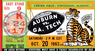 1962 Auburn-Georgia Tech Football Ticket Stub