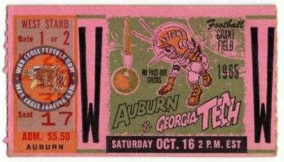 1965 Auburn-Georgia Tech Football Ticket Stub