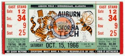 1966 Auburn-Georgia Tech Football Ticket