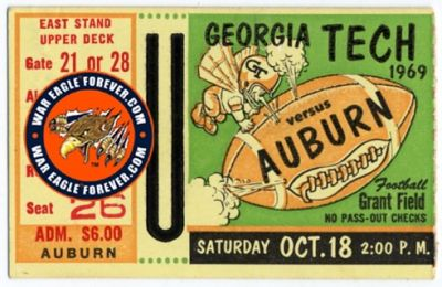 1969 Auburn-Georgia Tech Football Ticket Stub