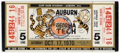 1970 Auburn-Georgia Tech Football Ticket Stub