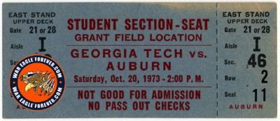1973 Auburn-Georgia Tech Student Football Ticket