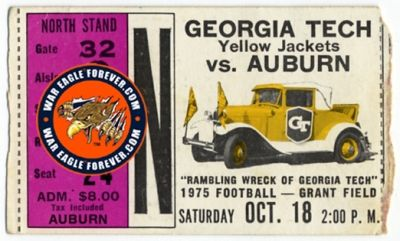 1975 Auburn-Georgia Tech Football Ticket Stub