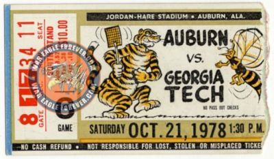 1978 Auburn-Georgia Tech Football Ticket