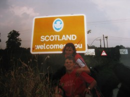 Mid way through our Land's End to John O'Groats cycle challenge...Dishevelled, and exhausted - crossing the border.  Who knew Scotland was so big?