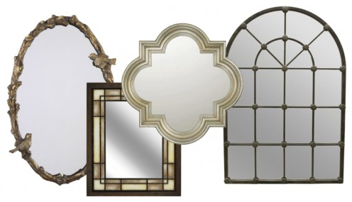 Left to right: Uttermost 22″x34″ Paza Oval Mirror with birds, Capitol Lighting Decorative Mirror in Winter Gold, and Import Collection 22-354 Large Arch Mirror.