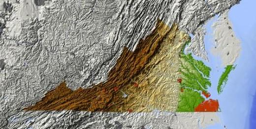 Relief Map of Virginia