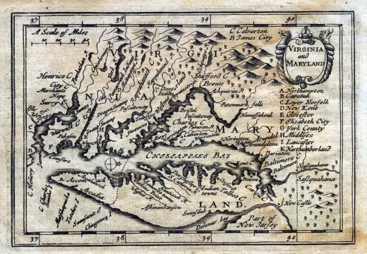 Map of Virginia from 1635