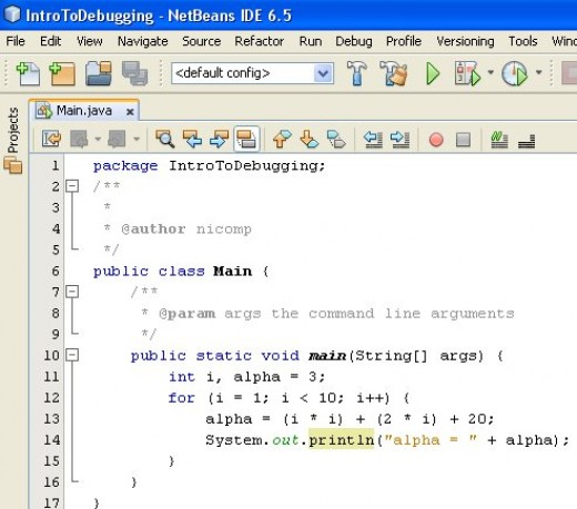 Figure 01 - A simple Java program that we can use to illustrate debugging techniques
