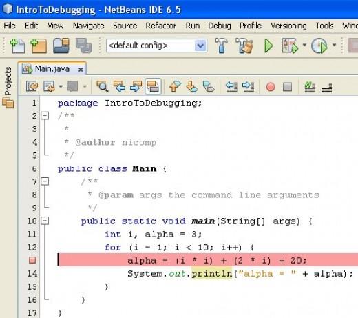 Figure 03 - Setting a breakpoint in a program
