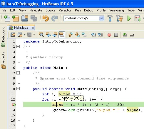 Figure 06 - The current value of the variable alpha is displayed by Netbeans