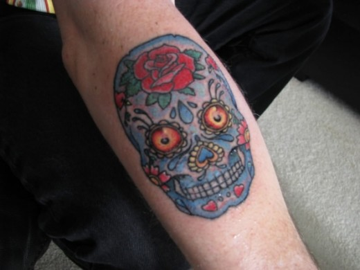 Dia de los Muertos Skull Tattoo.  Source:  http://media.beta.photobucket.com/user/Claypatch/media/IMG_2109.jpg.html