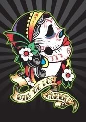 girly mexican skull tattoo design