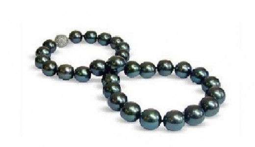 Peacock Black Tahitian South Sea Cultured Pearl Necklace