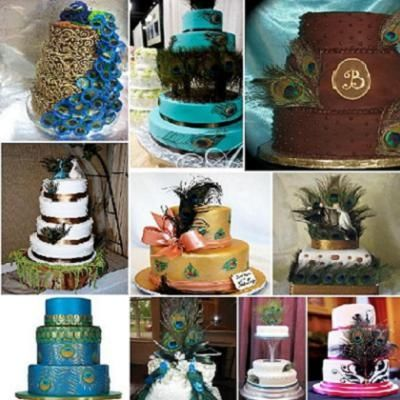 Peacock Themed Wedding - Cake Examples