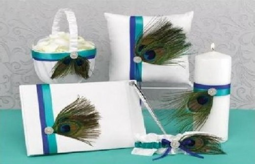 Peacock Plume Wedding Accessory Collection