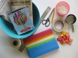 Craft supplies needed for pinata project.