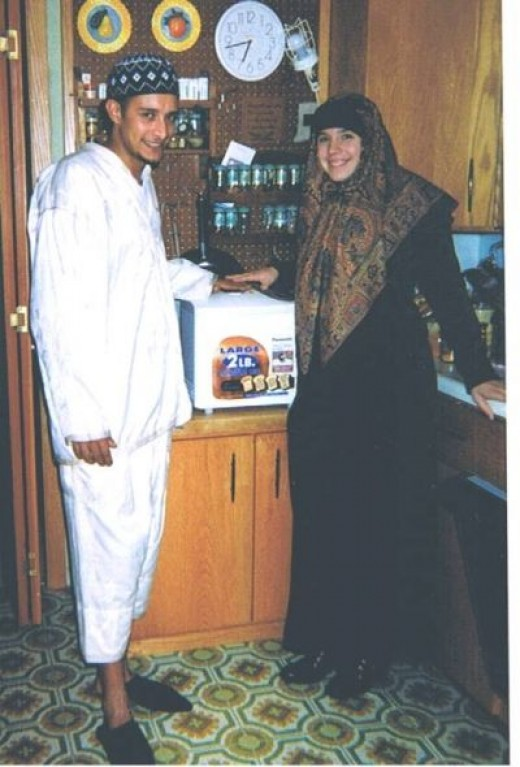 Ihssan and I on the day of our Muslim Wedding.  (and the bread machine we bought for $10 that was brand spankin new)