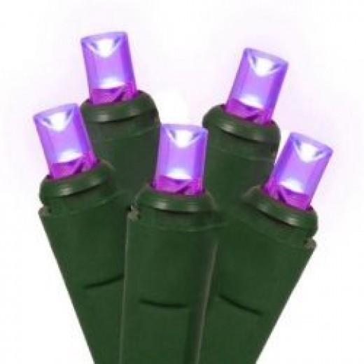 Set of 50 Purple LED Wide Angle Christmas Lights