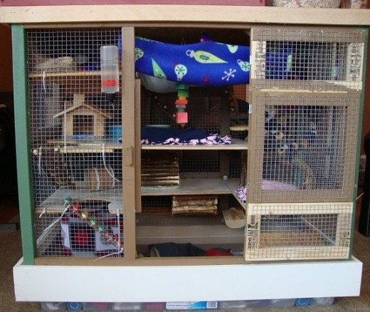 The bottom part of the cage has lots of levels.