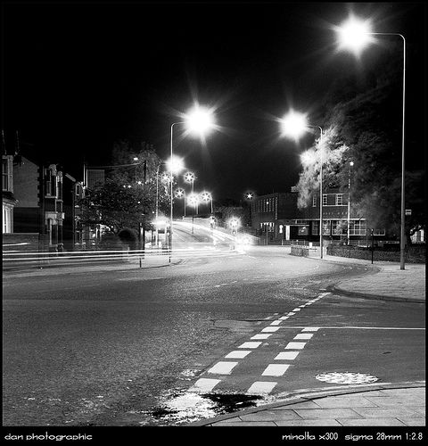 Black and white at night film photography at its best