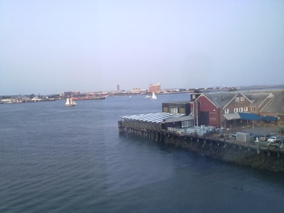 View of Boston Bay and Anthony's Pier 4 restaurant from 4th floor of ICA Museum