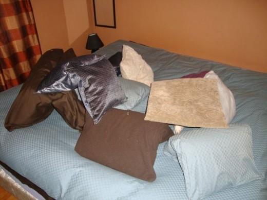 Pillow fort—Koko hiding