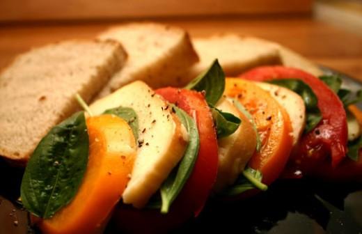 Insalata Caprese, a tomato salad made with basil, fresh mozzarella ...