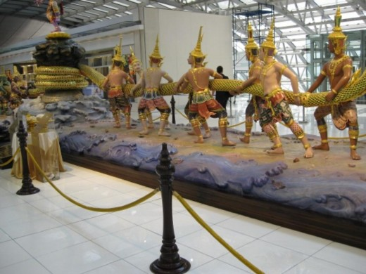 A giant sculpture at Bangkok Airport