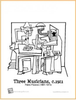 Three Musicians | Free Coloring Page