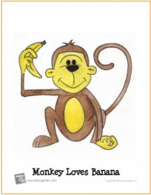 watercolor lesson monkey