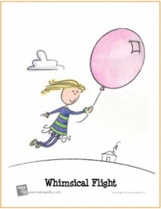 watercolor lesson girl ballon