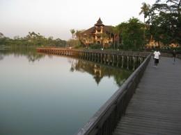 Kandawgyi Lake around sun-set