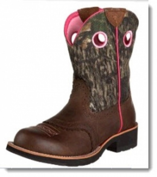 Women's Ariat Fatbaby Cowgirl Boot - Distressed Brown/Mossy Oak