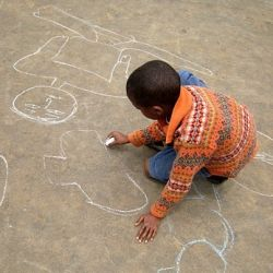 Children drawing with Chalk at the Orphanage in Addis Ababa