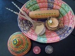 Find traditional items such as these woven baskets or serving spoons as decoration or shower prizes.