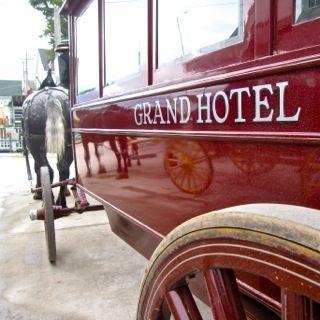If you are a guest at the Grand Hotel, you will have your suitcases transported there by a luggage cart, but you have the option of walking or taking a carriage like this one. I recommend getting a ride up when you first arrive.
