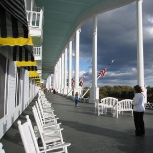 The Grand Hotel is known for it's very, very long porch.