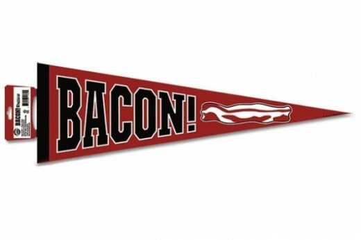 Go Bacon! Show your love for bacon with this awesome bacon pennant. It makes an ideal affordable bacon gift.