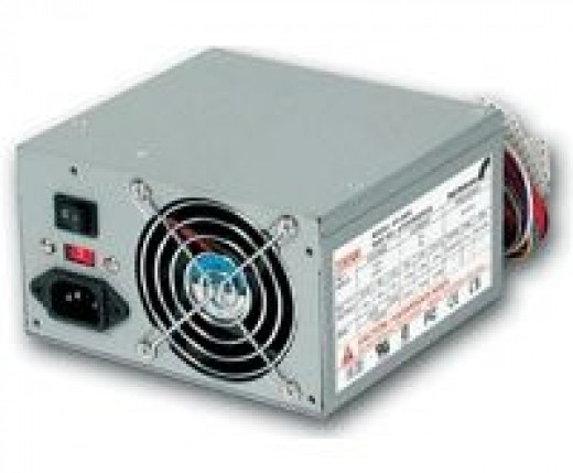 A typical atx power supply unit for a desktop computer