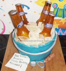 Clever use of corn syrup & cake... from http://www.coolest-birthday-cakes.com/coolest-beer-bottle-cake-27.html