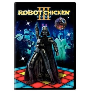 Robot Chicken Star Wars III DVD -  Image Source: http://www.amazon.com/gp/product/B004SMTO62/ref=as_li_ss_tl?ie=UTF8&tag=chir03-20&linkCode=as2&camp=217153&creative=399701&creativeASIN=B004SMTO62    Used under non-free, low resolu