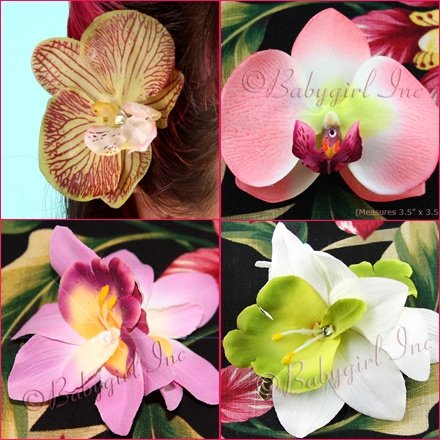 Orchid hair clips come in a variety of styles and colors. Great for adding a touch of the tropics to your vintage-inspired look!