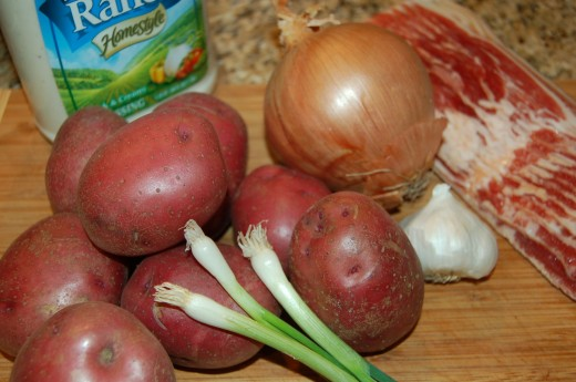 Ranch Dressing Recipe with Roasted Red Potatoes, Bacon, Onions and Garlic