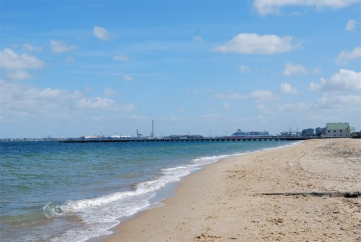 Looking back towards South Melbourne and Station Pier, where the Spirit of Tasmania docks