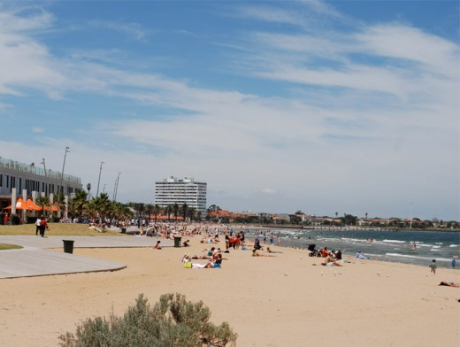 St Kilda Beach in summer - head straight from the sand, into the cafe