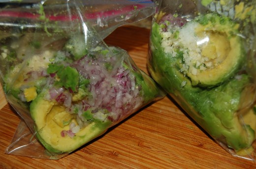 Add onion, garlic and jalepeno to avacado in freezer bags
